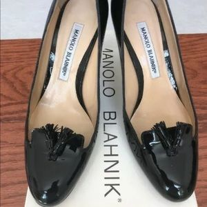 Manolo Blahnik Tassled Mocassin Pump BLACK Sz 6